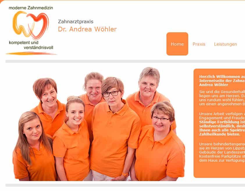Die Startseite des neuen Webauftritts der Zahnarztpraxis von Dr. Andrea Wöhler.