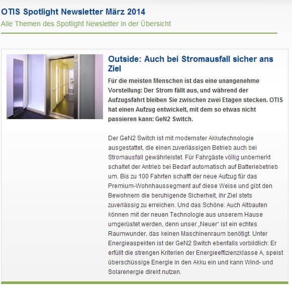 Jetzt im Netz: Der Newsletter OTIS-Spotlight von März 2014 mit Neuigkeiten aus dem Unternehmen und aktuellen Produkten