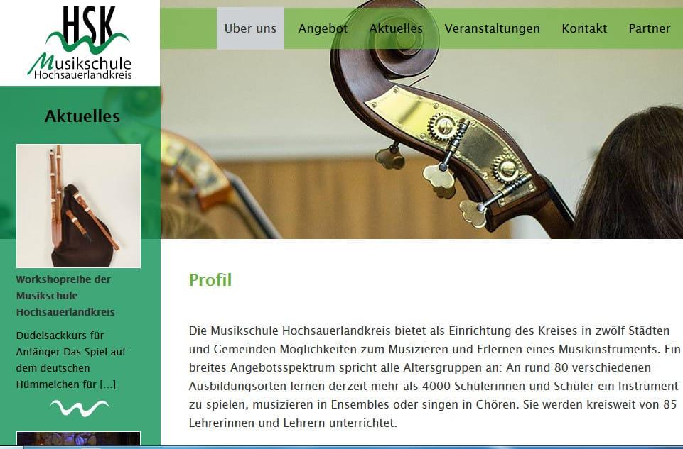 Webauftritt der Musikschule des Hochsauerlandkreises