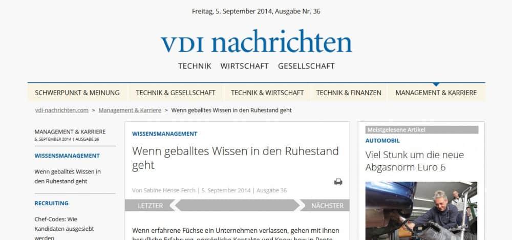 Wenn Know-how in Ruhestand geht - Artikel in den VDI-Nachrichten vom 5. September 2014.