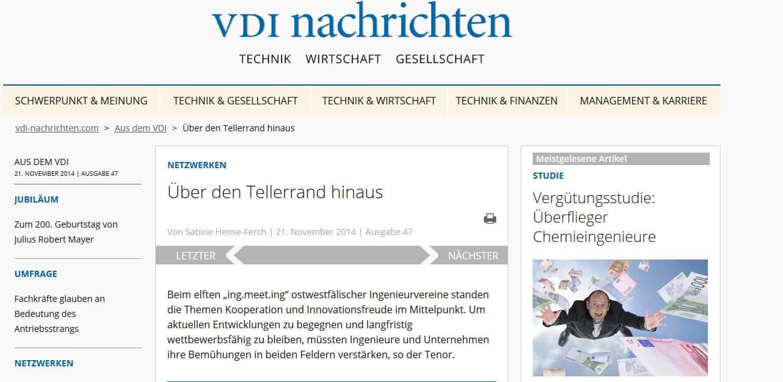 """""""Über den Tellerrand hinaus"""", Beitrag in den VDI-Nachrichten vom 21.11.14"""