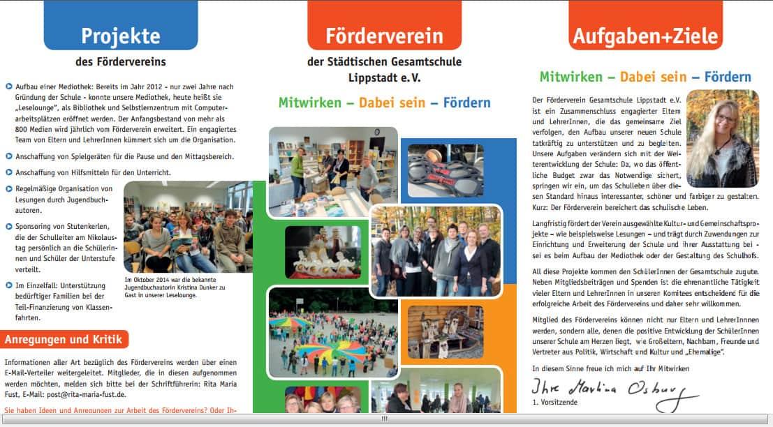Schickes Design, informative Texte: Der neue Folder des Fördervereins der Gesamtschule Lippstadt.