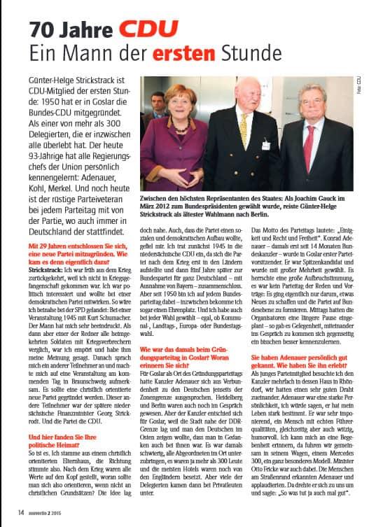 65 Jahre in der CDU – Interview mit Günter-Helge Strickstrack