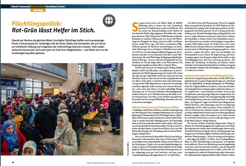 Mehrseitiger Beitrag zum Thema Flüchtlinge in Niedersachsen.