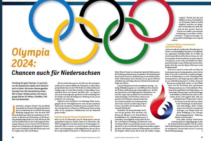 Norddeutschland ist gerüstet für die Olympiade 2024. Auch Niedersachsen ist mit einigen Spielstätten dabei.