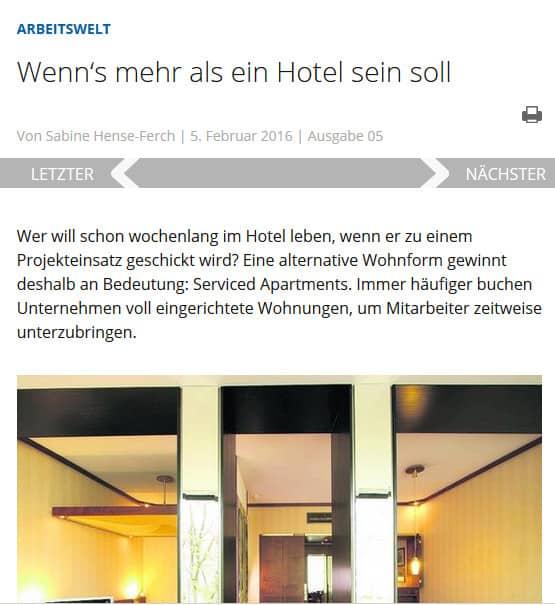 Mein Beitrag zum Thema Serviced Apartments - zu lesen in den VDI-Nachrichten.