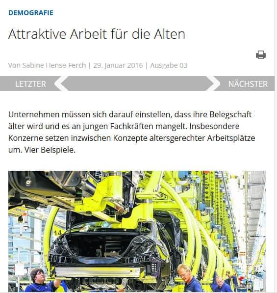Attraktive Arbeit für die Alten - Beitrag in den VDI-Nachrichten vom 29. Januar 2016.