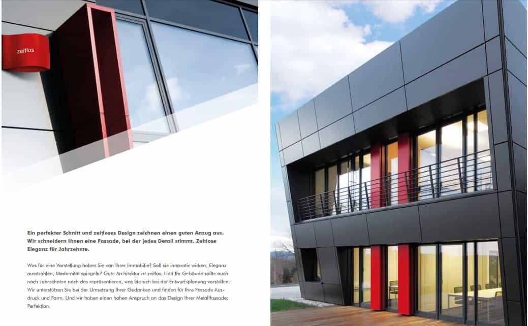 Beispielseite aus der Imagebroschüre SCHRAG Fassaden