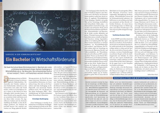 Ein Bachelor in Wirtschaftsförderung - Rathausconsult Ausgabe 02/2016, S. 44/45