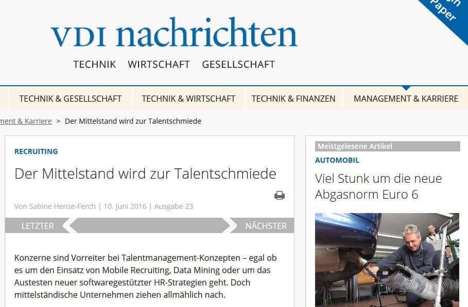 VDI-Nachrichten: Der Mittelstand wird zur Talentschmiede
