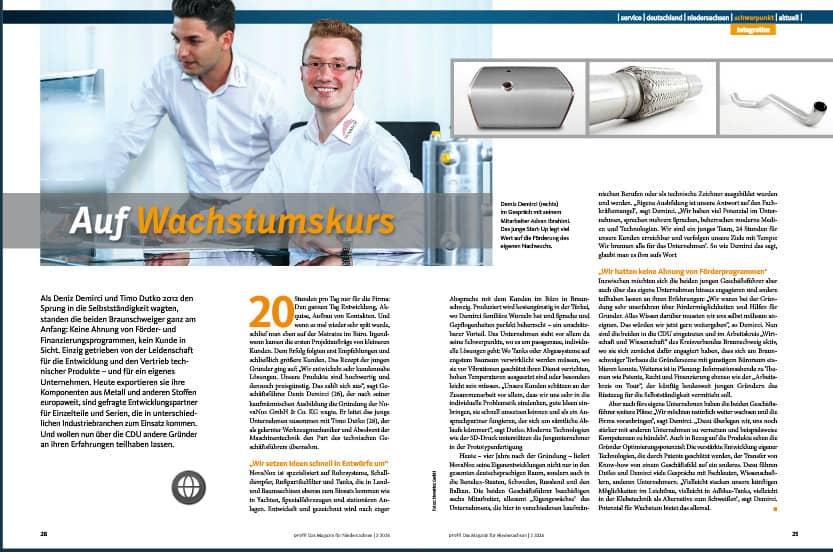 Doppelseitiges Porträt des Braunschweiger Startup-Unternehmens Novanox.