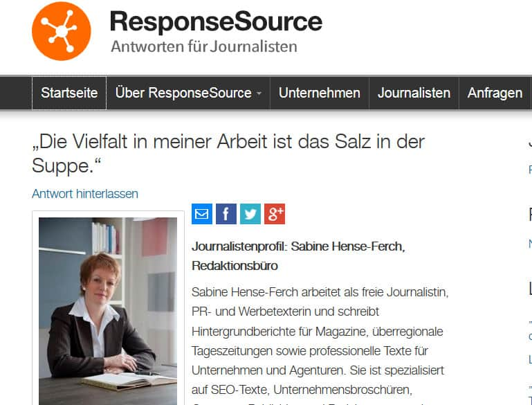 Interview für die Rechercheplattform ResponseSource.