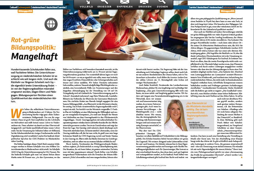 Bildungspolitik mangelhaft - Artikel auf den Seiten 28/29