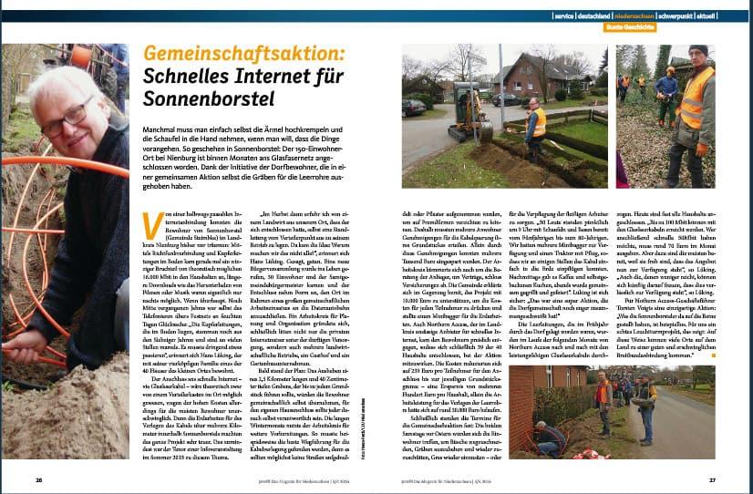 Schnelles Internet für Sonnenborstel - Artikel auf den Seiten 26/27