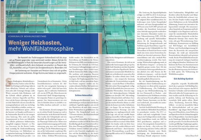 Doppelseitiger Artikel zur Energieeinsparung bei öffentlichen Gebäuden - nachzulesen auf S. 40