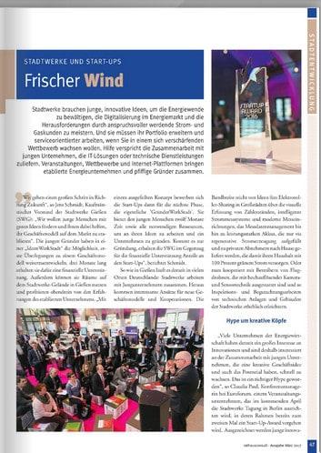 Frischer Wind - Warum immer mehr Stadtwerke auf die Zusammenarbeit mit Start-ups setzen, steht auf den Seiten 47 ff. von Rathausconsult.
