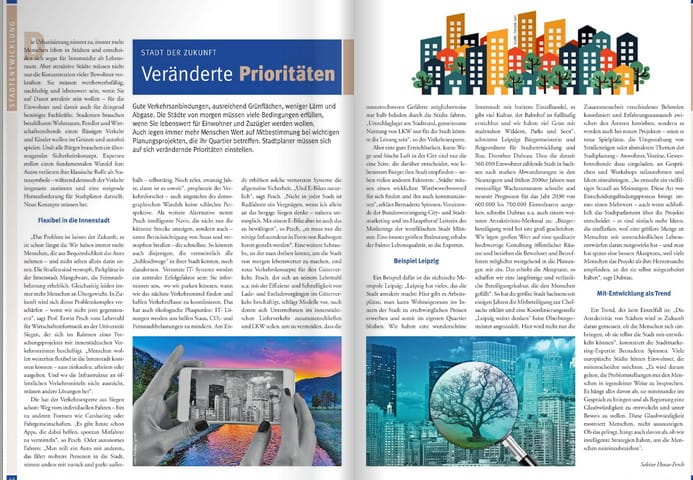 Intelligente Lösungen für die Stadt der Zukunft - doppelseitiger Beitrag auf Seite 42/43