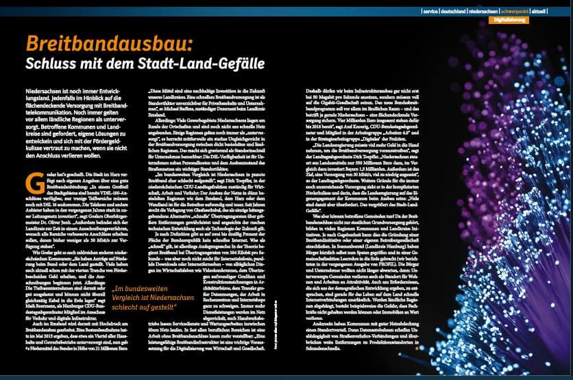 Beitrag zum Breitbandausbau in Niedersachsen