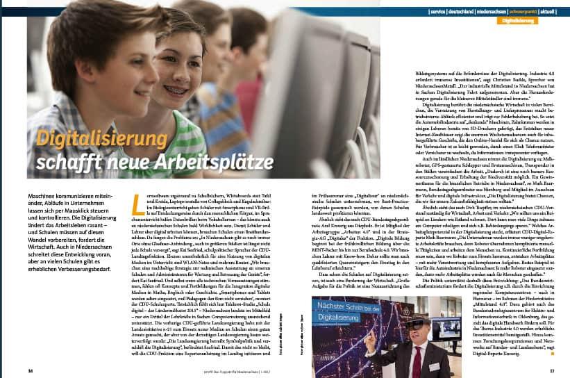Beitrag zur Digitalisierung auf den Seiten 16 und 17.