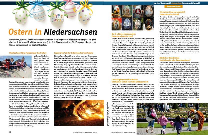 Beitrag über Osterbräuche in Niedersachsen auf den Seiten 22 und 23.
