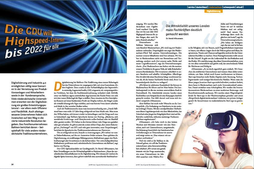 Digitalisierung in Niedersachsen - wie die CDU sich dieses Themas annimmt. Beitrag auf den Seiten 14 und 15.