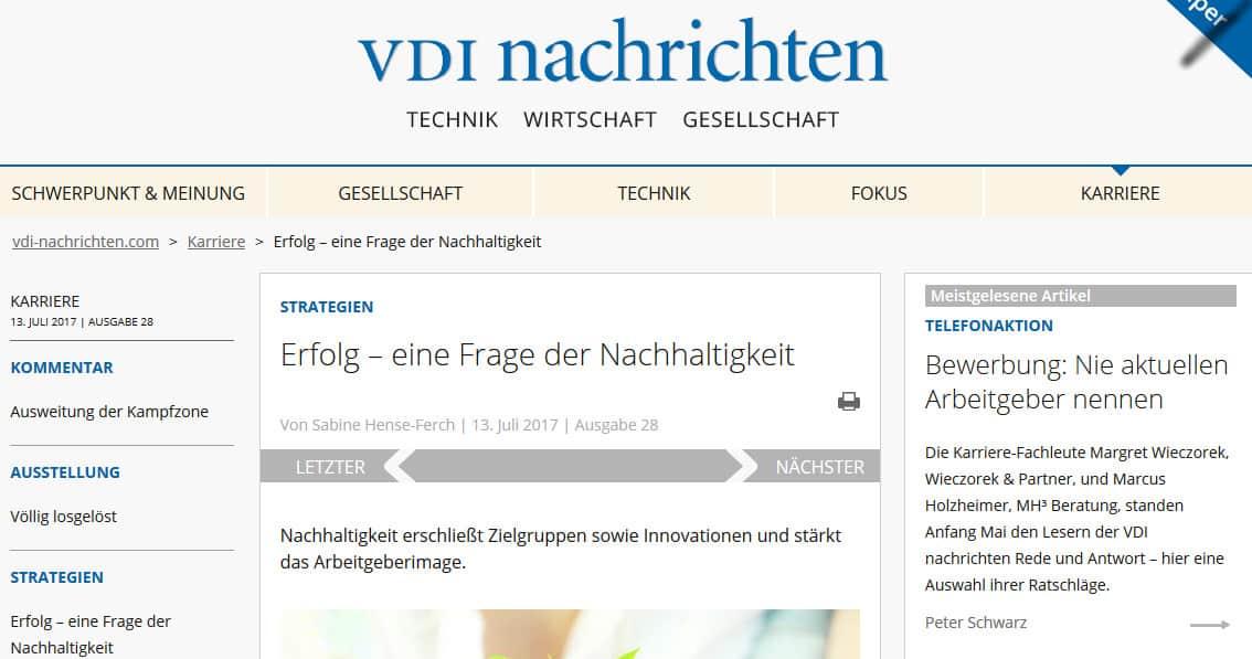 Erfolg - eine Frage der Nachhaltigkeit. Artikel in den VDI-Nachrichten vom 14.07.17.