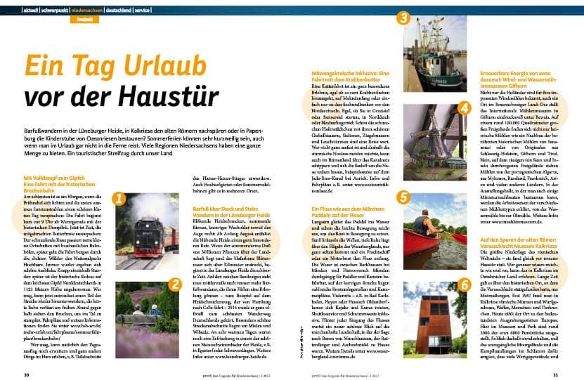 Reiseziele in Niedersachsen - Die besten Tipps für die Sommerferien. Zu lesen auf den Seiten 30 und 31.
