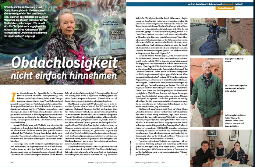 Beitrag zum Thema Obdachlosigkeit auf den Seiten 28 und 29.