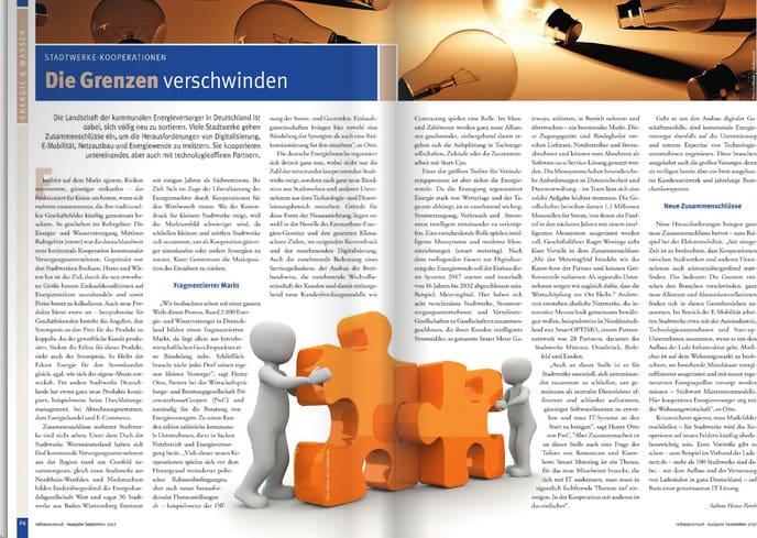 Die Grenzen verschwinden - doppelseitiger Beitrag zu Stadtwerke-Kooperationen.