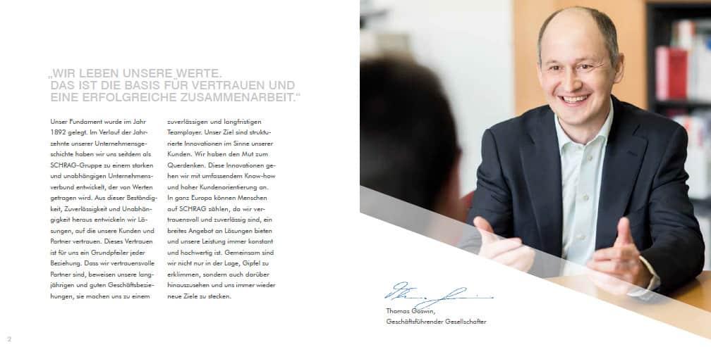 Wertebroschüre SCHRAG Vorwort des Geschäftsführenden Gesellschafters
