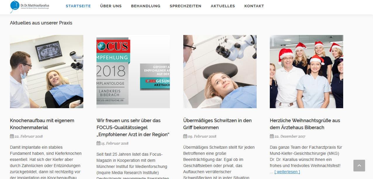 News-Beiträge für den Mund-, Kiefer- und Gesichtschirurgen Dr. Karallus aus Biberach.