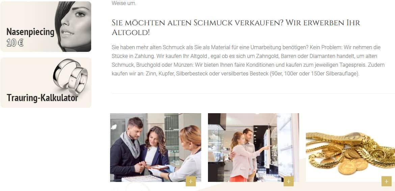 Ausschnitt aus der Webseite Diamant-Juwelier.de