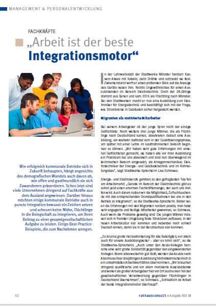 Doppelseitiger Beitrag zur Integration von Geflüchteten in Rathausconsult 2 -2018.