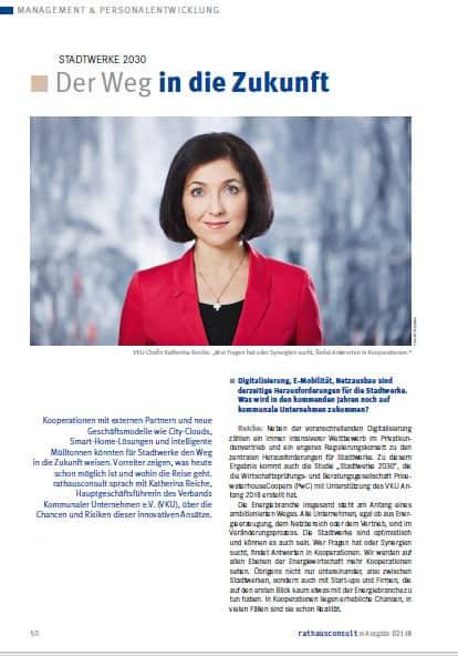 Katherina Reiche im Interview - doppelseitiges Interview in Rathausconsult 2-2018.