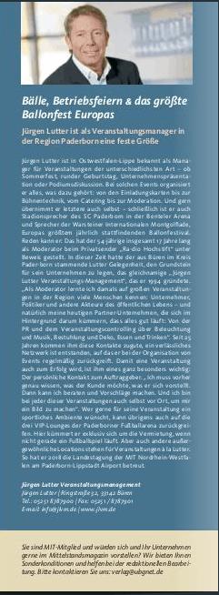 Mittelstandsmagazin 1 - 2019, S. 33. Advertorial Jürgen Lutter/Veranstaltungsmanagement